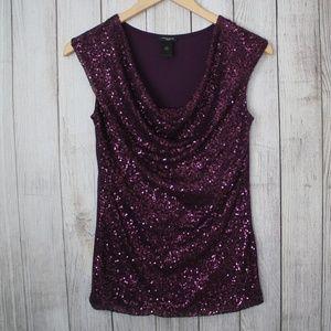 ANN TAYLOR Size XS Purple Sequin Blouse Top